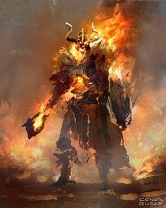 fantasy_dark — Fire Warriors by Conor. Fantasy Kunst, Dark Fantasy Art, Dark Art, Fantasy Armor, Medieval Fantasy, Fantasy Character Design, Character Art, Fire Giants, Fire Warrior