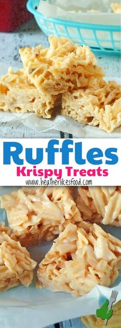 Ruffles Krispy Treats Cereal Treats, Cereal Bars, Weird Food, Crazy Food, Sweet And Salty, Candy Recipes, Dessert Recipes, Dessert Ideas, Pb Max Candy Bar Recipe