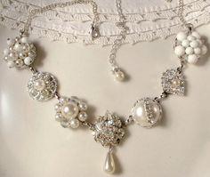 OOAK Vintage White Wedding Pearl & Rhinestone Bridal Necklace, Vintage Heirloom Cluster Earring Necklace