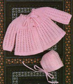 Babies Matinee Coat & Bonnet Knitting Pattern PDF Baby Girls or Boys 20 inch chest, Babys Jacket, Vintage Knitting Patterns for Baby Pattern Baby, Baby Sweater Patterns, Baby Cardigan Knitting Pattern, Coat Patterns, Baby Knitting Patterns, Baby Patterns, Crochet Cardigan, Vintage Knitting, Lace Knitting