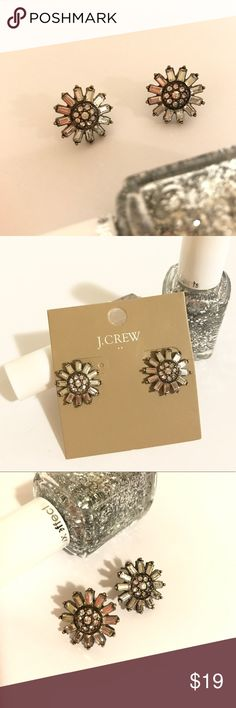 NEW J. Crew Daisy Flower Stud Earrings Brand new.  Comes with dust pouch.  Clear stones. J. Crew Jewelry Earrings