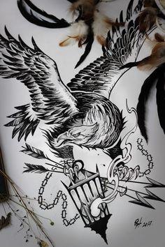 Tattoo орел эскиз - tattoo's photo In the style Eag Tribal Tattoos, Forarm Tattoos, Eagle Tattoos, Tattoos Skull, B Tattoo, Sleeve Tattoos, Wolf Tattoos, Star Tattoos, Black Tattoos