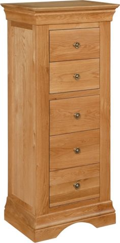 Solid oak narrow chest of drawers