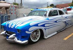 taylormademadman: Ford two-door lead sled. Frenched headlamps and radio antenna (at back seat window). Two-tone blue flames that extend over the car's top. Pinup, Car Paint Colors, Motorcycle Paint Jobs, Trucks And Girls, Lead Sled, Abandoned Cars, Car Pictures, Car Pics, Car Painting