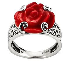 American West Red Coral Carved Rose Sterling Ring ~ makes me think of Belle
