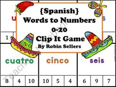 Spanish Game: Spanish Words to Numbers 0-20 Clip It Game product from Sweet-Tea-Classroom on TeachersNotebook.com