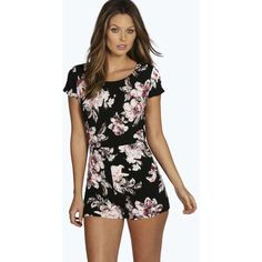 509b4f9aa6 Boohoo Georgie Floral Capped Sleeve Playsuit ( 30) ❤ liked on Polyvore  featuring jumpsuits