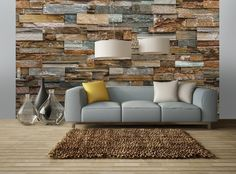 Fotobehang Colorful Stone Wall - Industrieel behang | Muurmode.nl