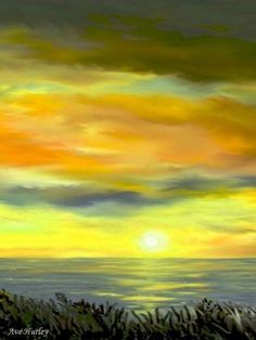 Lynne's Sunset is the center painting[#2] of a trilogy sunset by   Ave Hurley of ArtRave