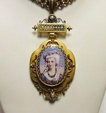 """викторианский эмаль портрет pendant/brooch & 34 """"длиной ожерелье 14k 93.7 G оригинал"""