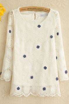 Sweet Flower Embroidered Peasant Top - OASAP.com