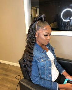 Most current Cost-Free Half up half down hair black women Ideas With your wedding event, you intend to look the most beautiful via head to toe, as everyone's view Weave Ponytail Hairstyles, Sew In Hairstyles, Ponytail Styles, Baddie Hairstyles, Trending Hairstyles, Black Women Hairstyles, Curly Hair Styles, Natural Hair Styles, Hair Ponytail