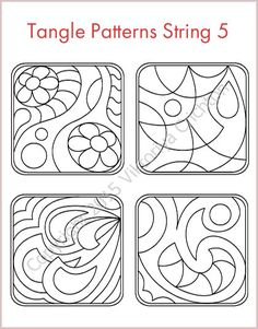 Strings for drawing zentangles. Tangle pattern string, PDF. Print A4 sheet and fill Tangle ready strings to get his tiles-zentangle. This