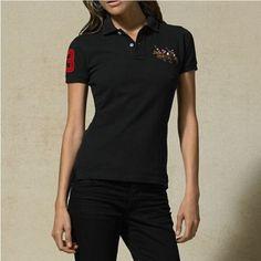 Ralph Lauren Refined Logo Black Fashion Neck Short Sleeved  http://www.ralph-laurenoutlet.com/