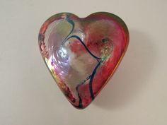 Robert Held Blown Glass Pink Heart Shaped Paperweight