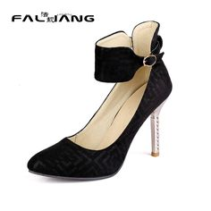 33.00$  Buy here - http://aliizs.shopchina.info/go.php?t=32795961018 - Women Shoes High Heel  2017 Elegant Pointed Toe Casual Buckle Thin Heels Womens Shoes Size 12 13 14 15 16 Extreme High Heels  33.00$ #SHOPPING