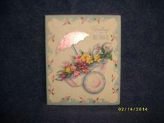 Vintage MOTHER'S DAY Card, Heywood T-657 Pink Wheelbarrow, Pink Foil Umbrella | eBay