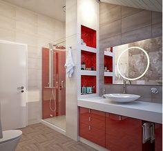baño rojo y blanco