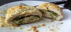 Kipfilet rolletjes gevuld met pesto en kaas - Koolhydraatarmerecepten.info
