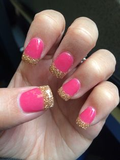 Anc glitters amazing nails concept anc nails ombre anc nails anc pink and gold french manicure prinsesfo Images