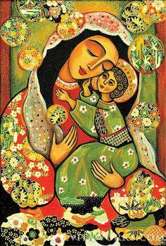 Icône de lart religieux Vierge Marie et Jésus vierge par EvitaWorks