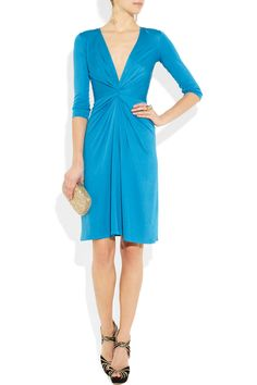 Teal blue short jersey cocktail dress from Issa.