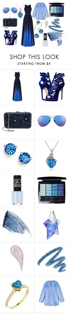 """""""blue just blue"""" by pacitorausclio on Polyvore featuring moda, Giuseppe Zanotti, Menbur, Kate Spade, Christian Dior, Sisley, Thierry Mugler, Yves Saint Laurent y THP"""