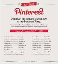 Just Add Pinterest Party. Join some of our favorite bloggers at these locations. Click thru for details and store location