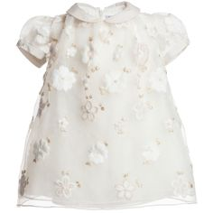 Simonetta Baby Girls Ivory Organza Dress at Childrensalon.com