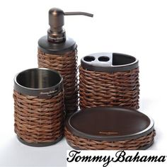 @Overstock.com - Tommy Bahama Retreat Wicker 4-piece Bath Accessory Set - This bathroom set features a unique combination of metal surrounded by attractive dark wicker. The set includes a soap dish, toothbrush holder, lotion/soap dispenser and tumbler in smooth cylindrical designs.  http://www.overstock.com/Bedding-Bath/Tommy-Bahama-Retreat-Wicker-4-piece-Bath-Accessory-Set/8442497/product.html?CID=214117 $49.99