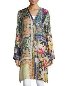Shiro Printed Button-Front Silk Tunic, Multi, Plus Size