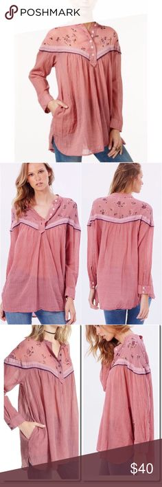 Free People Hearts and Colors Top Retro-inspired blouse in a flowy silhouette. With printed sheer chiffon along the neckline and button closures on the placket. Striped and sheer bottom-half with hip pockets. 100% Cotton and super comfy! MAKE AN OFFER ☺️ Free People Tops