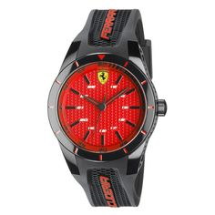 A Ferrari red dial for a wrist watch with silicone strap designed to allow the sports active man to wear his passion. Red Watches, Watches For Men, Ferrari Watch, Quartz Watch, Chronograph, Swag, Lounge, Bling, Passion