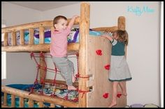 Bunk bed with rock wall... When we get Landon a bunkbed I want to do this but minus net-just a ladder. I want him to have a safe way to get down in middle of the night.