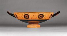 Wine Cup with Eyes (Getty Museum)  Attributed to the Phineus Painter   Greek, Rhegion, South Italy, about 520 B.C.   Terracotta   4 3/16 x 13 13/16 x 10 1/4 in.