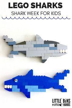 Build LEGO Sharks for the SharK Week activities for kids . - Build LEGO Sharks for the SharK Week activities for kids bui - Lego Duplo, Shark Activities, Activities For Kids, Indoor Activities, Motor Activities, Manual Lego, Lego Poster, Lego Hacks, Construction Lego