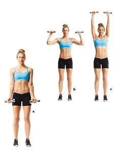 Exercise To Burn Fat -- Dumbbell Curl And Press Exercise To Reduce Arms, Reduce Arm Fat, Lose Arm Fat, Lose Belly Fat, Thigh Toning Exercises, Toning Workouts, Workout Tips, Build Arm Muscle, Toned Legs Workout