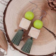 Wooden earrings | Серьги ручной работы. Ярмарка Мастеров - ручная работа. Купить Серьги салатовые. Handmade. Салатовый, дерево, серьги из дерева, украшение