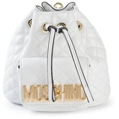 Moschino Mini Logo Bucket Backpack ($1,195) ❤ liked on Polyvore featuring bags, backpacks, bolsas, moschino, white, white backpack, day pack backpack, drawstring backpack and mini drawstring backpack