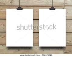 #Stock #photo: #two #blank #frames with #clips on #brown #wooden #boards #background #shutterstock