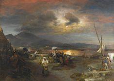 Oswald Achenbach - The bay of Naples, Vesuvius beyond