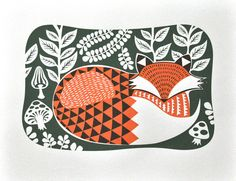 I Love My Fox Art Print  Screen Printed by beauideal on Etsy, $35.00