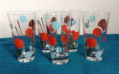 "Orange, Turquoise and Gold Polka Dot Glasses, 5-3/4"" x 3"""