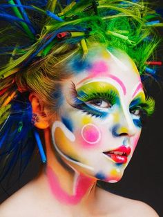 Colourful face art/makeup.  For similar pins please follow me at - https://www.pinterest.com/annelouise1959/colour-outside-the-lines/