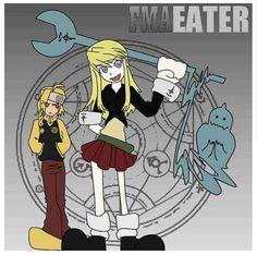 Switch it up! - {anime, manga, otaku, fangirl, FMA, Fullmetal Alchemist, mashup, Soul Eater, Edward Elric, Maka, Winry, Alphonse, scythe, funny, humor, parody}