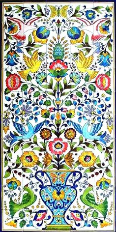DECORATIVE CERAMIC TILES: large mosaic panel hand painted wall mural kitchen bathroom pool patio deck backsplash wall art tile  60in x 30in