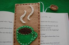 Felt bookmark with a coffee mug by ColorAndThread on Etsy. , via Etsy. Another good idea to make on your on Book Crafts, Hobbies And Crafts, Felt Crafts, Crafts To Sell, Diy And Crafts, Felt Bookmark, Bookmark Craft, Latte Art, Creative Bookmarks