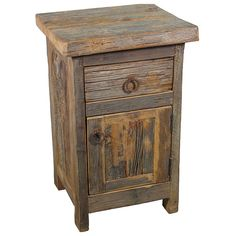 "Enhance your southwest or rustic decor with this old reclaimed barn wood nightstand. 18""w x 16""d x 29""h $299.00"