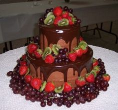 Fruit and chocolate wedding cake heavenly cakes & wedding go Brown Wedding Cakes, Amazing Wedding Cakes, Wedding Cakes With Cupcakes, Amazing Cakes, Cupcake Cakes, Fruit Cakes, Pretty Cakes, Beautiful Cakes, Gourmet Cakes