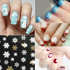 Snowflakes Snowman 3D Nail Art Stickers Decals by HighClassNailsss